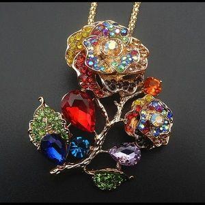 Betsey Johnson flower rainbow necklace